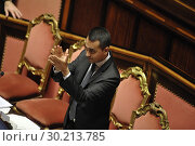 Купить «Deputy Prime Minister, Minister of Labour and Industry Luigi Di Maio during the vote to Decree law Pension reforms Quota 100 and Basic income at Senate, Rome, ITALY-27-02-2019.», фото № 30213785, снято 27 февраля 2019 г. (c) age Fotostock / Фотобанк Лори