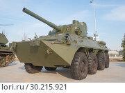 """Купить «Российское 120-мм батальонное самоходное орудие (самоходный миномёт) 2С23 «Нона-СВК» (на базе БТР-80) в парке """"Патриот"""", вид спереди-слева», фото № 30215921, снято 13 апреля 2016 г. (c) Малышев Андрей / Фотобанк Лори"""