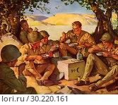 Купить «Happy Soldiers eat Rations.», фото № 30220161, снято 10 июля 2020 г. (c) age Fotostock / Фотобанк Лори