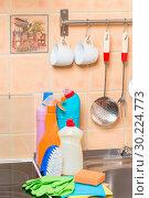 Купить «closeup of kitchen objects - stove, sink and cleaning products», фото № 30224773, снято 9 июля 2016 г. (c) Константин Лабунский / Фотобанк Лори