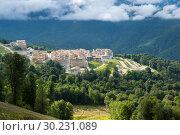 Купить «View of the Gorky Gorod mountain ski resort», фото № 30231089, снято 21 июня 2017 г. (c) Юлия Белоусова / Фотобанк Лори