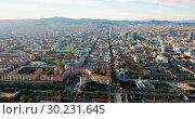 Купить «Aerial view of Mediterranean Sea coast of Barcelona, Spain», видеоролик № 30231645, снято 16 ноября 2018 г. (c) Яков Филимонов / Фотобанк Лори