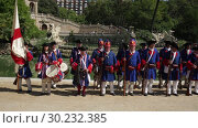 Купить «People dressed in costume at procession on the Day of Catalonia in Park de la Ciutadella», видеоролик № 30232385, снято 11 сентября 2018 г. (c) Яков Филимонов / Фотобанк Лори