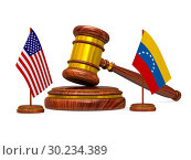 Купить «flag Venezuela and USA and wooden gavel on white background. Isolated 3D illustration», иллюстрация № 30234389 (c) Ильин Сергей / Фотобанк Лори