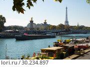 Купить «Eiffel Tower, Alexandre III bridge, Seine river», фото № 30234897, снято 10 октября 2018 г. (c) Яков Филимонов / Фотобанк Лори
