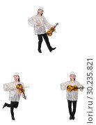 Купить «Young man playing violin isolated on white», фото № 30235821, снято 21 марта 2019 г. (c) Elnur / Фотобанк Лори