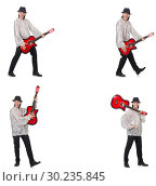 Купить «Young man with guitar isolated on white», фото № 30235845, снято 21 марта 2019 г. (c) Elnur / Фотобанк Лори