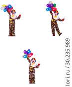 Купить «Funny male clown isolated on white», фото № 30235989, снято 19 марта 2019 г. (c) Elnur / Фотобанк Лори