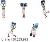 Купить «Young man with heavy suitcases isolated on white», фото № 30235993, снято 19 марта 2019 г. (c) Elnur / Фотобанк Лори