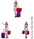 Купить «Beautiful woman in polka dot dress with suitcases isolated on wh», фото № 30236769, снято 22 апреля 2019 г. (c) Elnur / Фотобанк Лори