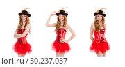 Купить «Red hair girl in carnival costume isolated on white», фото № 30237037, снято 29 ноября 2013 г. (c) Elnur / Фотобанк Лори