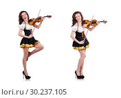 Купить «Young woman playing violin on white», фото № 30237105, снято 30 января 2013 г. (c) Elnur / Фотобанк Лори