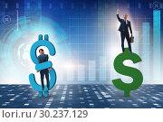 Купить «Businessman in dollar and debt concept», фото № 30237129, снято 18 марта 2019 г. (c) Elnur / Фотобанк Лори