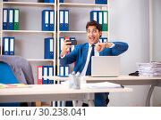 Купить «Employee stealing important information in industrial espionage», фото № 30238041, снято 10 августа 2018 г. (c) Elnur / Фотобанк Лори