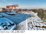 Купить «Open warehouse for storage of large diameter metal pipes. A gantry crane is installed in the territory. Winter sunny day.», фото № 30238437, снято 23 января 2019 г. (c) Андрей Радченко / Фотобанк Лори
