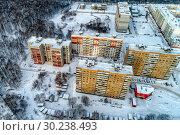 Купить «View of the city from the air. Winter cityscape», фото № 30238493, снято 6 января 2019 г. (c) Андрей Радченко / Фотобанк Лори