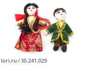 Купить «Dolls dressed with traditional azeri dress on a white background.», фото № 30241029, снято 12 марта 2018 г. (c) easy Fotostock / Фотобанк Лори