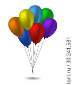 Купить «Seven balloons in the colors of the rainbow», иллюстрация № 30241581 (c) Сергей Лаврентьев / Фотобанк Лори