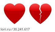 Купить «Two red hearts, whole and broken», иллюстрация № 30241617 (c) Сергей Лаврентьев / Фотобанк Лори