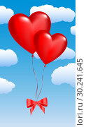 Купить «Two balloons in the shape of hearts on a sky», иллюстрация № 30241645 (c) Сергей Лаврентьев / Фотобанк Лори