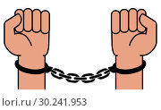 Купить «Handcuffs on the hands of the criminal», иллюстрация № 30241953 (c) Сергей Лаврентьев / Фотобанк Лори
