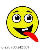 Купить «A cheerful smiley shows the tongue», иллюстрация № 30242009 (c) Сергей Лаврентьев / Фотобанк Лори