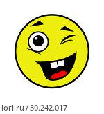 Купить «Joyful smiley on a white background», иллюстрация № 30242017 (c) Сергей Лаврентьев / Фотобанк Лори