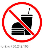 Купить «Do not eat or drink sign», иллюстрация № 30242105 (c) Сергей Лаврентьев / Фотобанк Лори