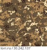 Купить «Seamless desert camouflage of pixel pattern», иллюстрация № 30242137 (c) Сергей Лаврентьев / Фотобанк Лори