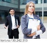 Купить «Female employee is upset with the reprimand of boss», фото № 30242313, снято 20 августа 2017 г. (c) Яков Филимонов / Фотобанк Лори