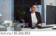 Купить «designer with computer and pen tablet at office», видеоролик № 30242853, снято 28 февраля 2019 г. (c) Syda Productions / Фотобанк Лори