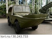 Купить «Плавающий автомобиль-амфибия «Форд-ГПА» в музее военной техники на Поклонной горе в Москве», фото № 30243733, снято 20 июня 2018 г. (c) Free Wind / Фотобанк Лори
