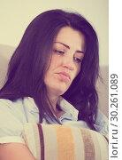 Купить «Adult sad female melancholy with pillow», фото № 30261089, снято 2 июня 2017 г. (c) Яков Филимонов / Фотобанк Лори