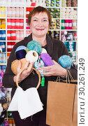 Купить «Woman with accessories for needlework», фото № 30261249, снято 10 мая 2017 г. (c) Яков Филимонов / Фотобанк Лори