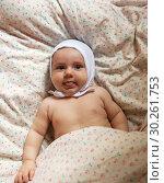 Купить «three-month baby on blanket», фото № 30261753, снято 22 июля 2019 г. (c) Дарья Филимонова / Фотобанк Лори