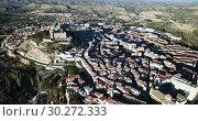 Купить «Aerial view of impressive medieval castle of Order of Calatrava on hill in town of Alcaniz, Spain», видеоролик № 30272333, снято 26 декабря 2018 г. (c) Яков Филимонов / Фотобанк Лори