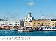 Купить «Вид на город. Солнечный день. Ранняя осень. Хельсинки. Финляндия», фото № 30272609, снято 19 сентября 2018 г. (c) E. O. / Фотобанк Лори
