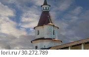 Купить «Resurrection Monastery(Voskresensky Monastery, Novoiyerusalimsky Monastery or New Jerusalem Monastery) against the sky--is a major monastery of the Russian Orthodox Church in Moscow region, Russia», видеоролик № 30272789, снято 9 марта 2019 г. (c) Владимир Журавлев / Фотобанк Лори