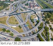 Купить «View on car interchange of Barcelona», фото № 30273889, снято 24 мая 2018 г. (c) Яков Филимонов / Фотобанк Лори
