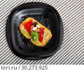 Купить «Sandwich with canned tuna, guacamole, olives, arugula and Feta cheese is tasty dish», фото № 30273925, снято 22 июня 2018 г. (c) Яков Филимонов / Фотобанк Лори