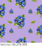 Купить «Watercolor drawings of blue pansies», иллюстрация № 30274305 (c) Марина Сапрунова / Фотобанк Лори