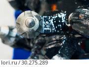 Купить «Powerful drilling tool. Screw drill, equipped with carbide-tipped elements and teeth», фото № 30275289, снято 6 июня 2018 г. (c) Андрей Радченко / Фотобанк Лори