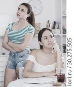 Offended teens girls after quarrel. Стоковое фото, фотограф Яков Филимонов / Фотобанк Лори