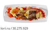 Купить «Top view of fried scomber with potatoes and carrot», фото № 30275929, снято 25 января 2020 г. (c) Яков Филимонов / Фотобанк Лори