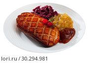 Купить «Duck breast Magret with marinated cabbage», фото № 30294981, снято 20 июня 2019 г. (c) Яков Филимонов / Фотобанк Лори