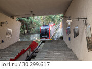 Купить «Tbilisi, Mtatsminda funicular car arrives at the lower station», фото № 30299617, снято 2 октября 2018 г. (c) Юлия Бабкина / Фотобанк Лори