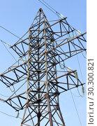 Купить «Воздушная высоковольтная линия электропередачи», фото № 30300821, снято 13 марта 2019 г. (c) Людмила Капусткина / Фотобанк Лори