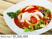 Купить «Tomato soup with squid and greens», фото № 30306489, снято 20 марта 2019 г. (c) Яков Филимонов / Фотобанк Лори