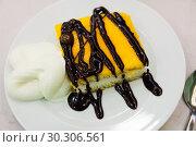 Купить «Almond sponge cake with chocolate light mousse and vavilla», фото № 30306561, снято 24 июля 2019 г. (c) Яков Филимонов / Фотобанк Лори
