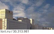 Купить «Main Building of the Ministry of Defence of the Russian Federation (Minoboron), day-- is the governing body of the Russian Armed Forces. Moscow, Russia», видеоролик № 30313981, снято 14 марта 2019 г. (c) Владимир Журавлев / Фотобанк Лори